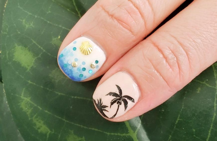 Flamingo and Floral Nail Art